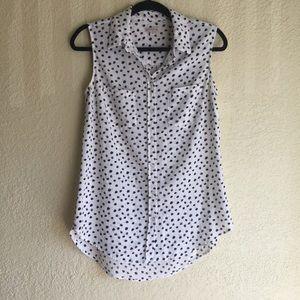 White & Black Polka Dot Short Sleeve Top
